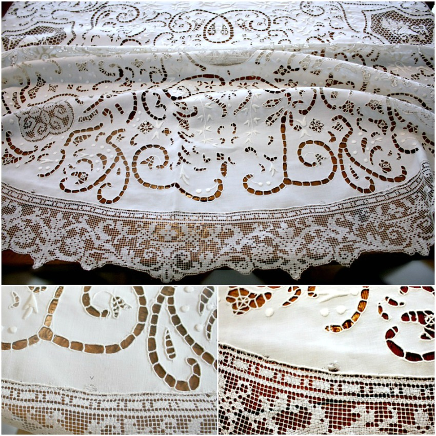 Superb Italian Figural Needle Lace & Filet Figural Round Cloth