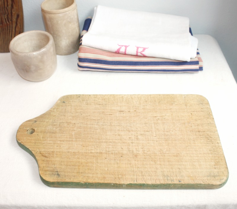 Antique French Country Cutting Board with Green Paint