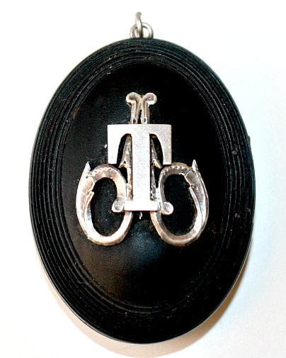 Estate Antique 19th Century Mourning Locket Sterling Monogram