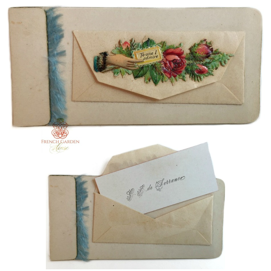 Antique Victorian Paper Scrap Calling Card Admire