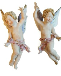 Pair of Vintage Bisque Porcelain Angels