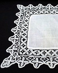 Antique Belgian Bobbin Lace Wedding Bridal Handkerchief Linen Lawn
