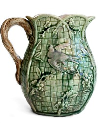 Antique Majolica Birds Pitcher
