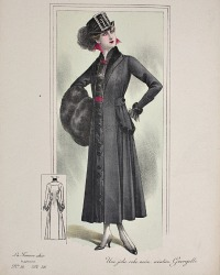 Antique French Hand Colored Fashion Print Black Creation Georgette