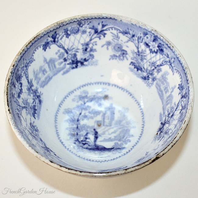19th Century Blue Staffordshire Transferware Tea Bowl