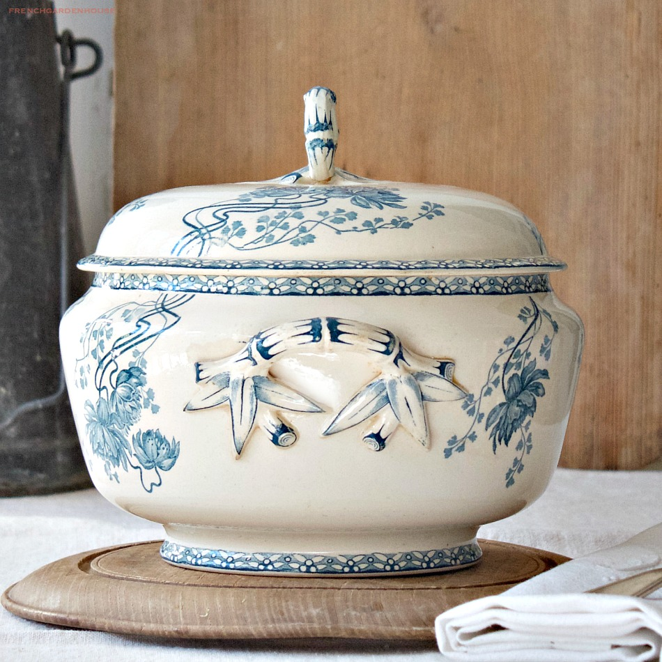 Antique French Blue Floral Transferware Tureen
