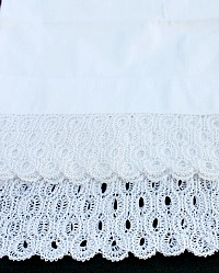 Antique French White Bed Bolster Cover Sham Tatted Lace