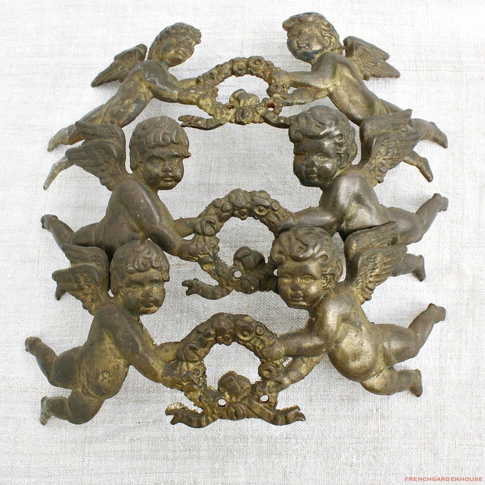 Antique French Cast Bronzed Cherub Architectural Ornament