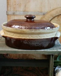 Antique French Country Brown Glazed Pottery Tureen Oval med.