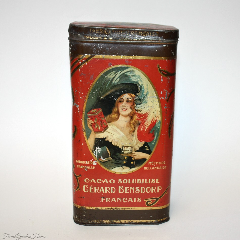 Antique Red Advertising Cacao Francais Chocolat Tin Andre Galland