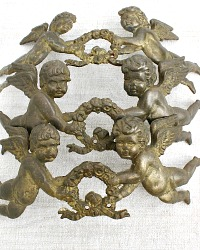 Antique French Cast Bronzed Cherub Architectural Ornament