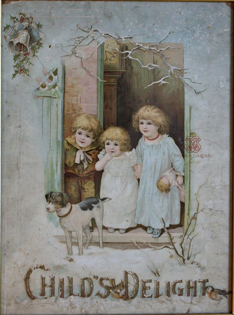 Antique Framed Chromolithograph Embossed Print Child's Delight