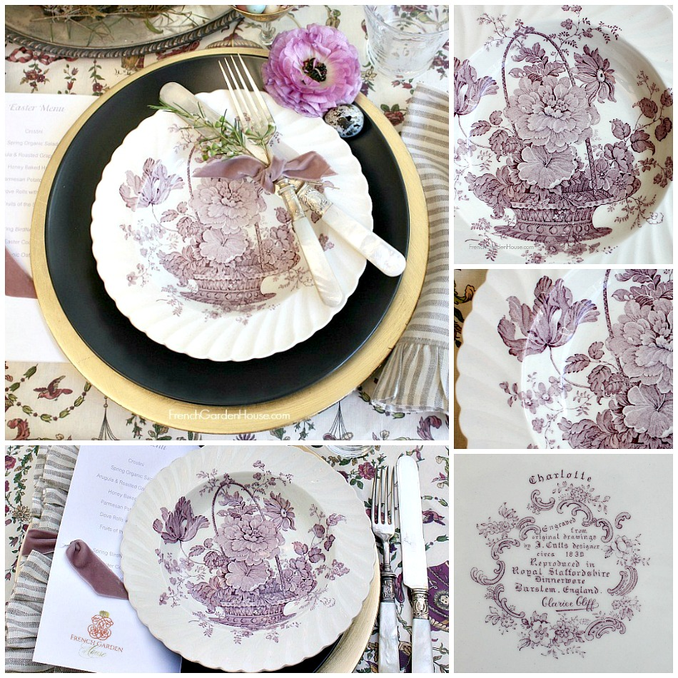 Vintage Royal Staffordshire French Basket with Flowers Lavender Plates Set of 6