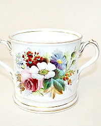 Antique Hand Painted Coalport Floral Loving Cup Christening Mug 1872