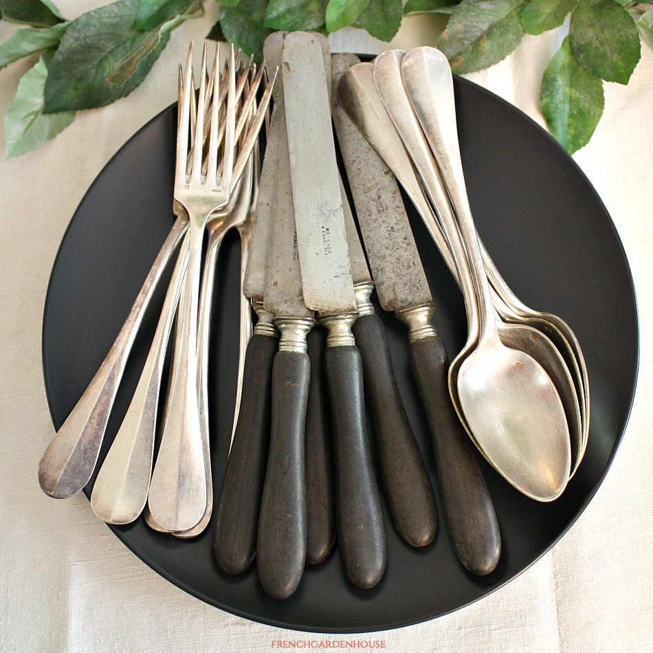 Antique French Country Silver Plate Flatware Set of 6