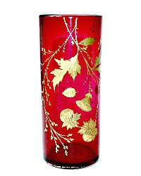Antique Heavy Cranberry Vase Hand Painted Gilt Autumn Leaves
