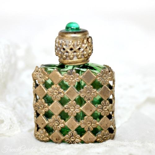 Czech Gilt Filigree Miniature Perfume Bottle