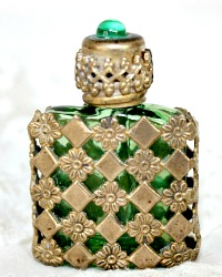 Czech Gilt Filigree Miniature Perfume Bottle