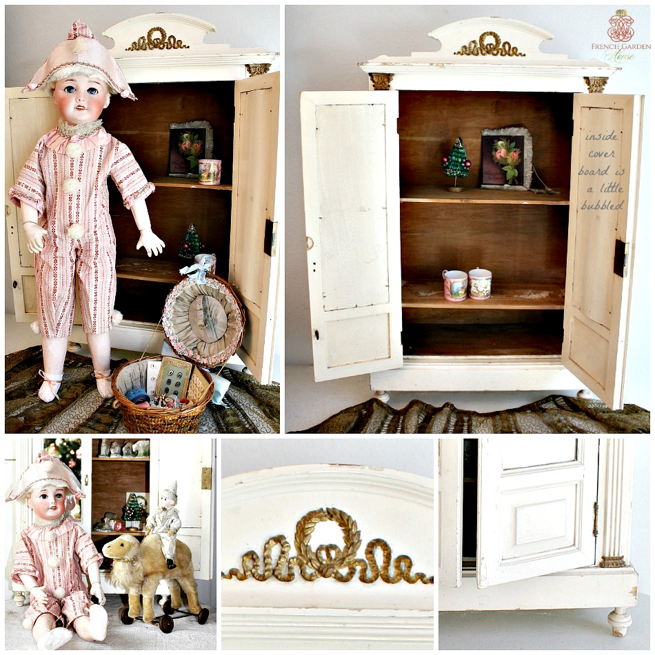Antique French Painted Doll Armoire Gilt Large