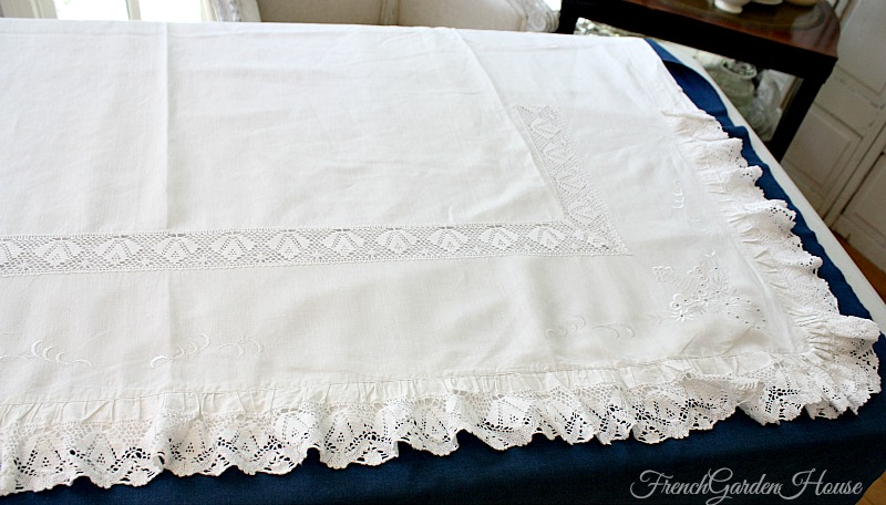 Antique Hand Made Cluny Lace Continental Sheet