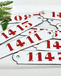 Vintage Red & White Enameled Hotel Number