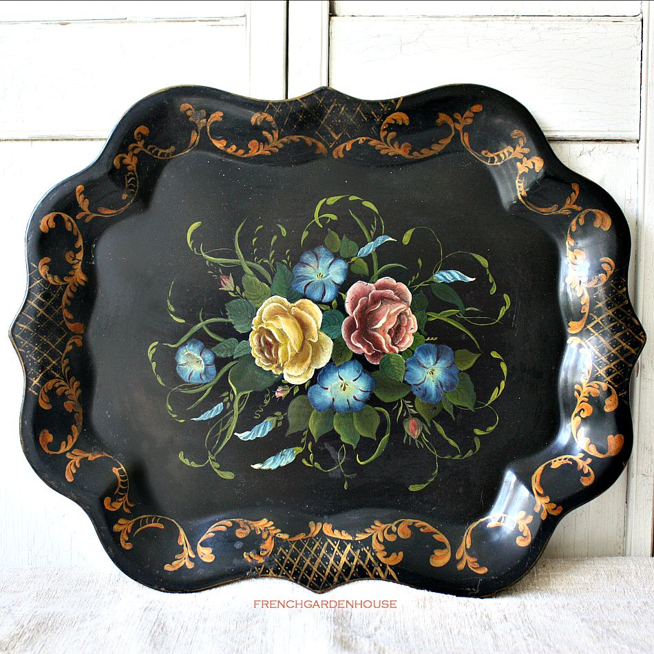 Antique Toleware Hand Painted Chippendale Tray