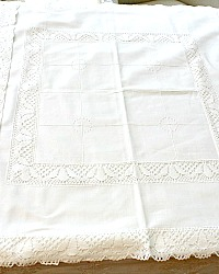 Antique Hand Made Embroidered Cluny Lace Continental Pillow Shams Pair