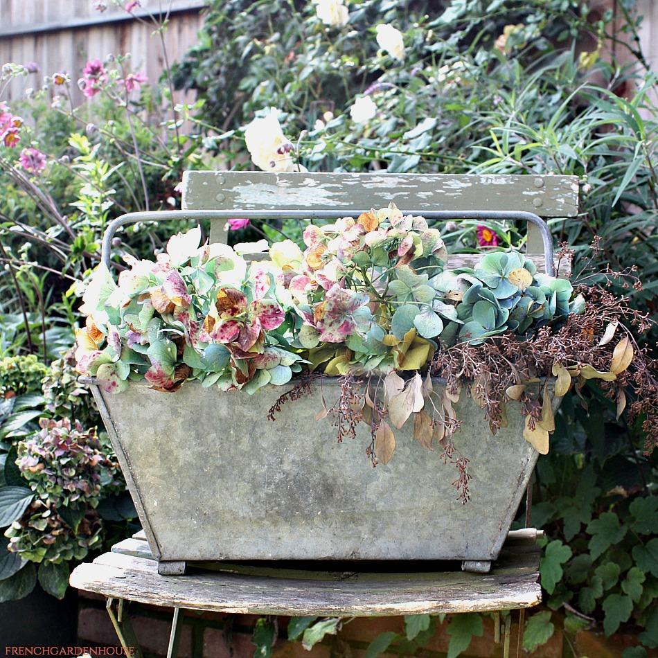 Antique French Zinc Oblong Gathering Bucket