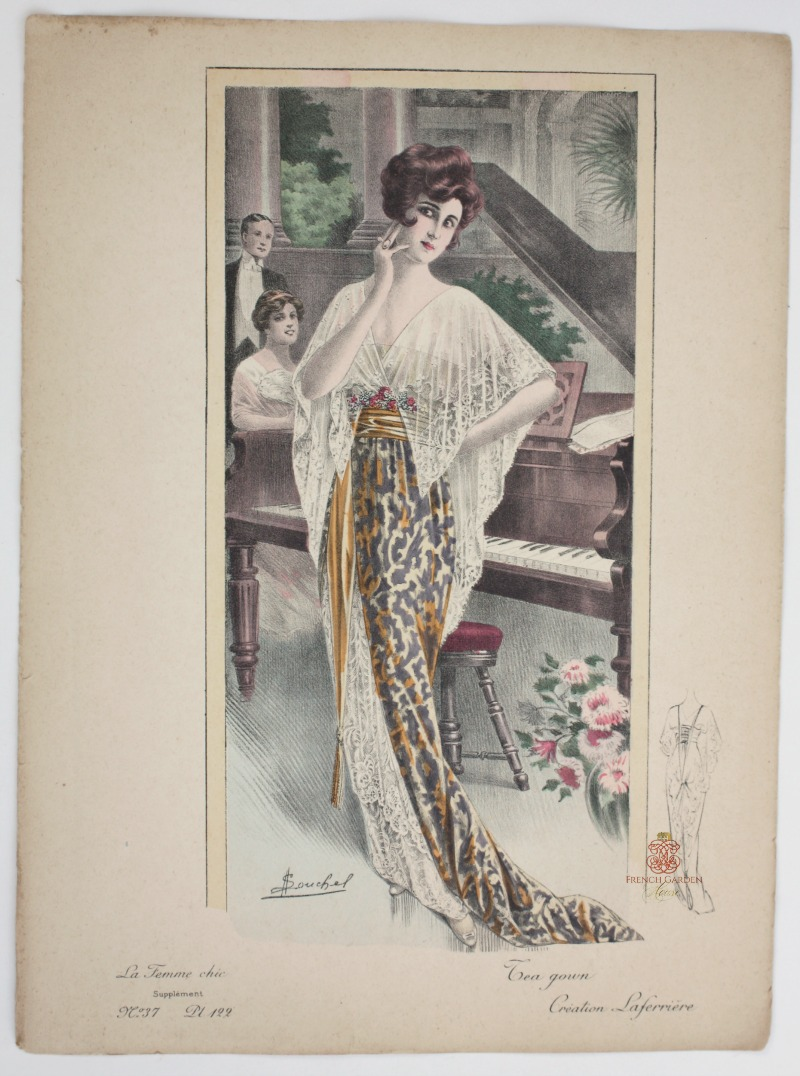 Antique French Hand Colored Fashion Print Tea Gown Laferriere