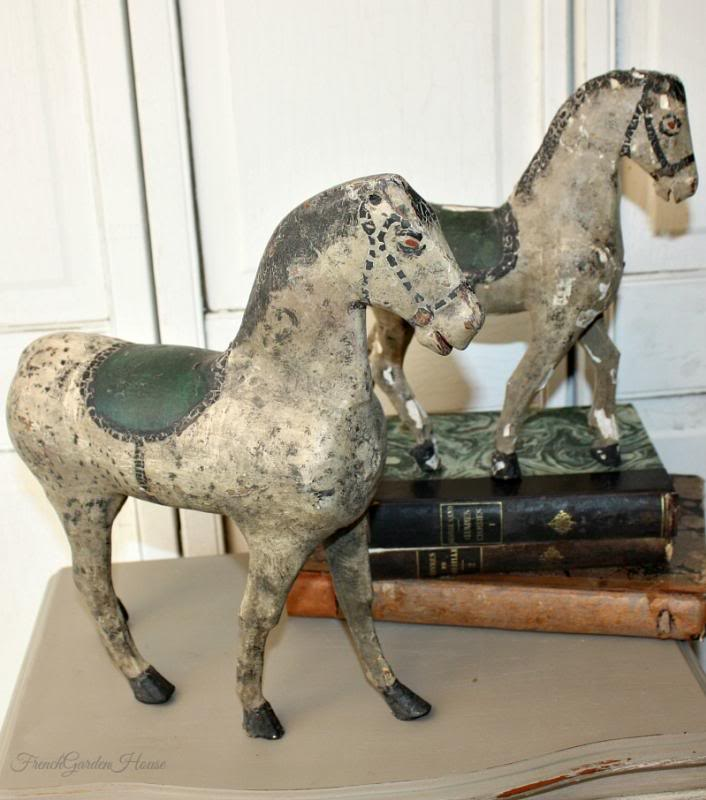 Antique 19th Century Flemish Hand Carved Wooden Child's Toy Horses Pair