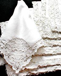 Antique Estate White Linen Italian Needlelace Napkin Floral Butterfly Set of 10