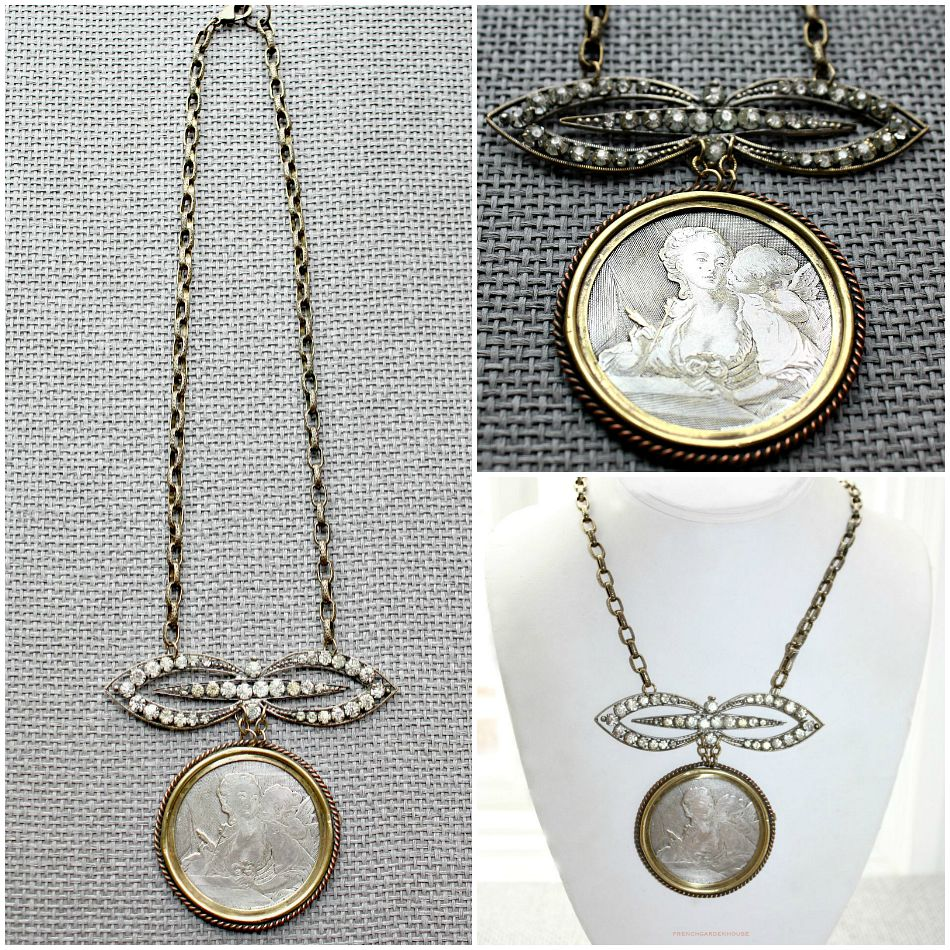 Antique French Fragonard Medallion Necklace