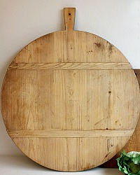 Antique French Round Pine Breadboard Light