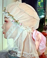 Antique French Net Lace Bridal Boudoir Cap