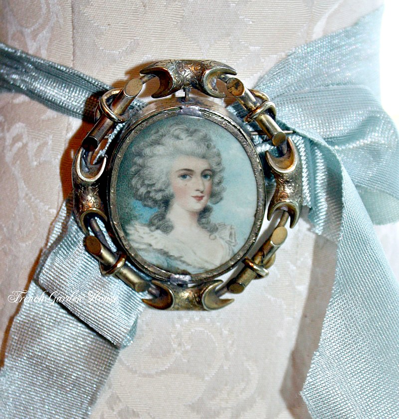 Antique French Swivel Portrait Locket Brooch