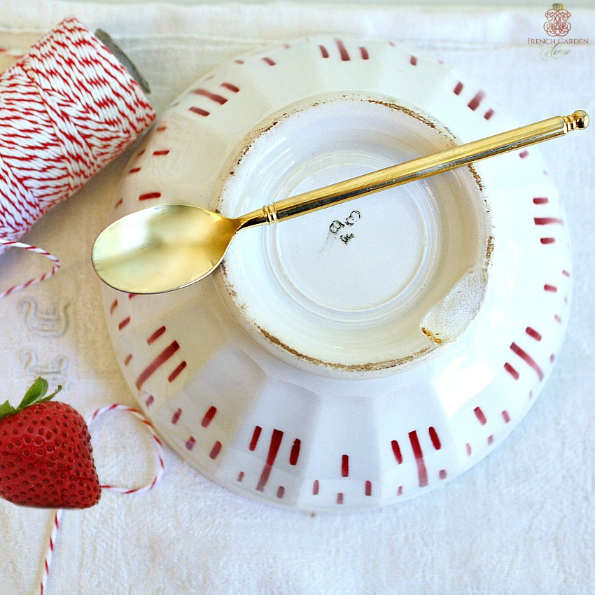 Antique French Country Cream and Red Cafe au Lait Bowl