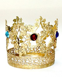 Miniature 19th Century French Ormolu Gilt Madonna Religious Crown Tiara Colored Jewels