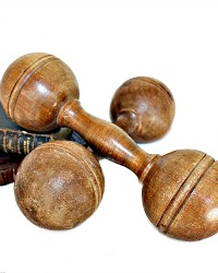 19th Century Wood Exercise Dumbbells Wood Weights