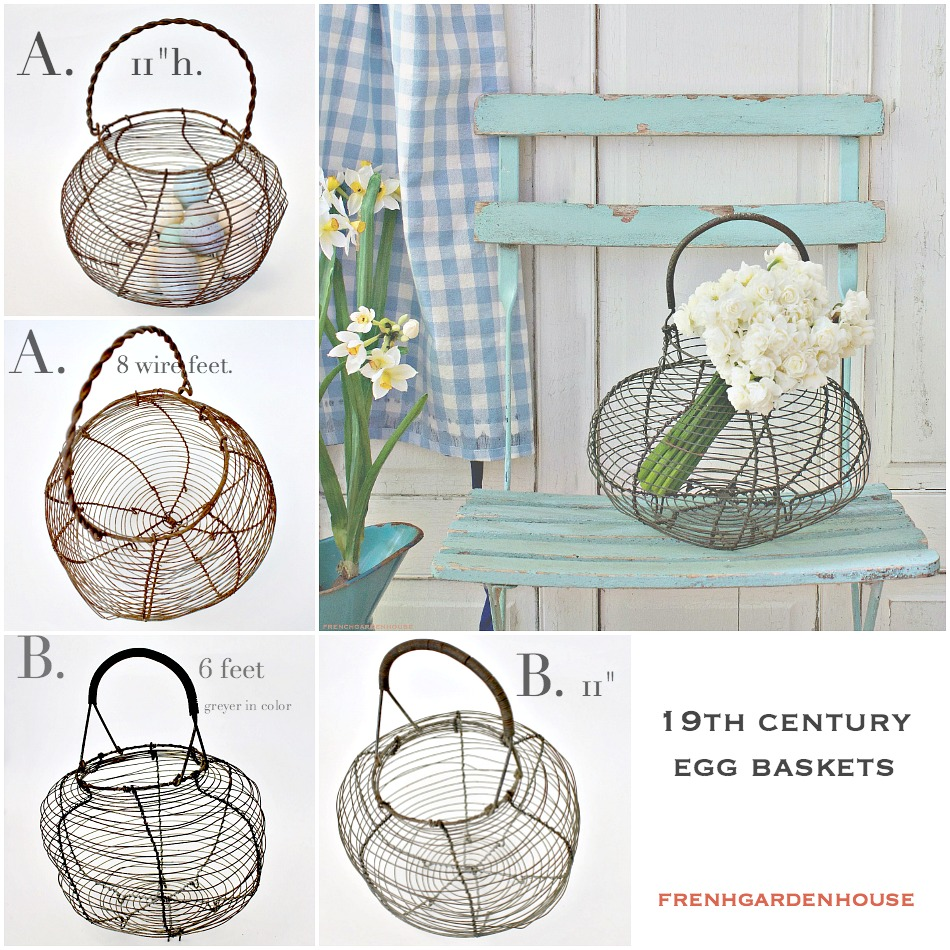 Antique French Wire Egg Gathering Basket