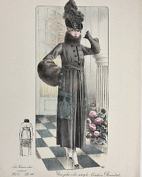 Antique French Hand Colored Fashion Print Black Creation Reverdot