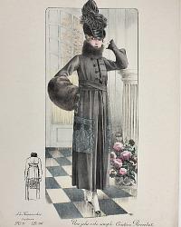 Antique French Hand Colored Fashion Print Black Creation Reverdot