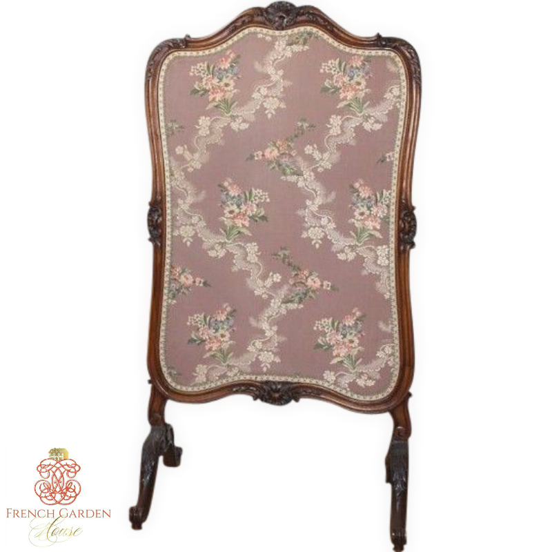 Antique French Country Fire Place Screen Rose Brocade