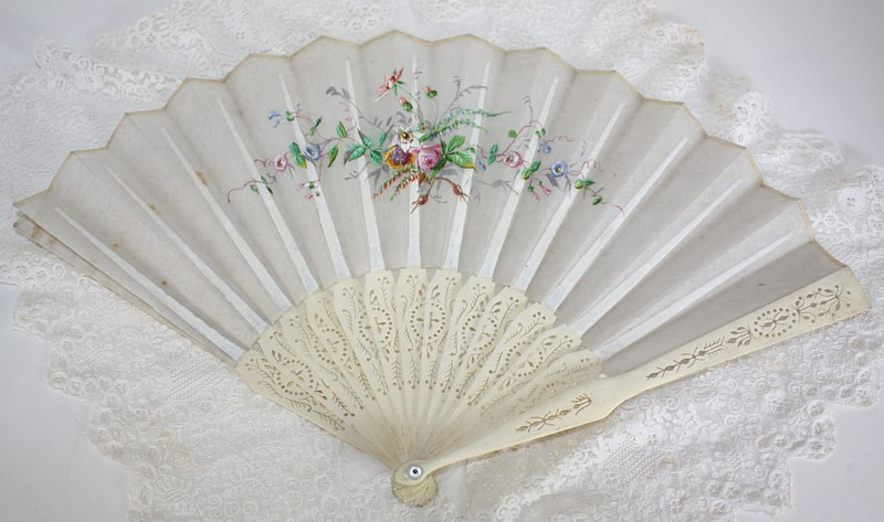 Antique French 19th Century Hand Painted Floral Fan Roses
