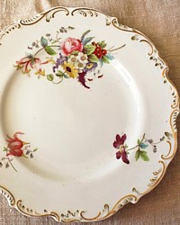 Antique Old Paris Porcelain Hand Painted Floral Plates Set 5