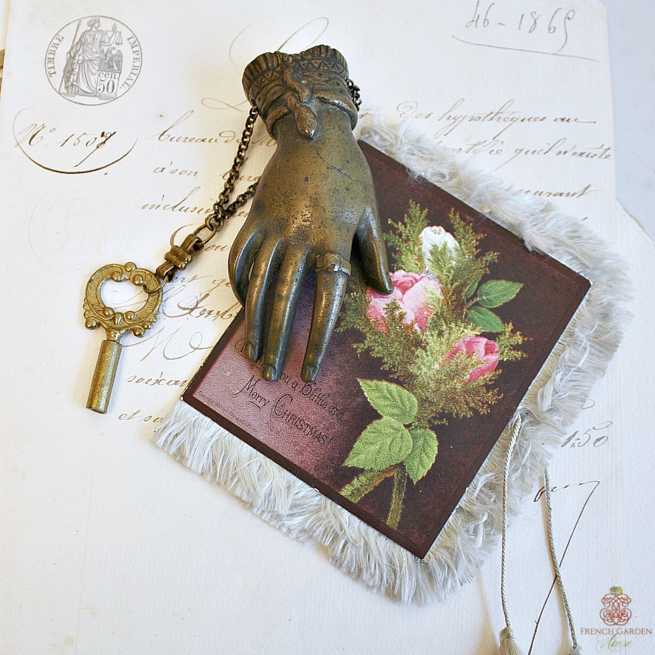 Antique French Presse Papier Lady's Hand with Key
