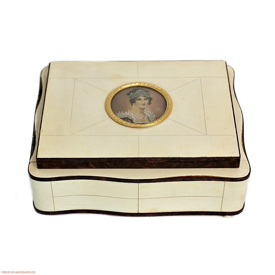 French Celluloid Jewelry Box Hand Painted Empress Josephine Portrait