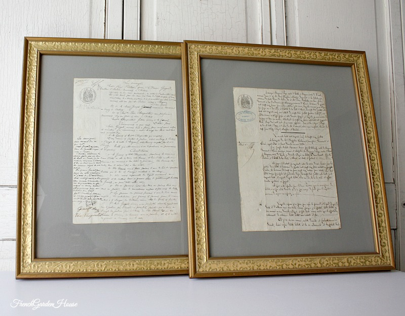 Custom Framed 19th Century Antique French Documents One Of