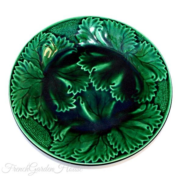 Antique 19th Century Green Majolica Leaf Plate Regal
