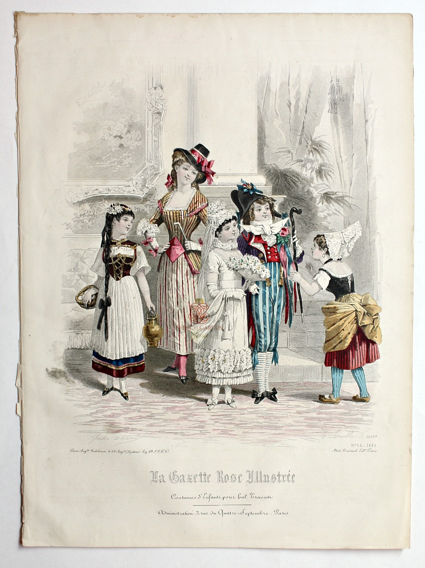 Antique French Hand Colored Fashion Print Lithograph Mardi Gras