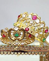 Antique 19th Century French Miniature Religious Madonna Gilt Tiara Crown Pink